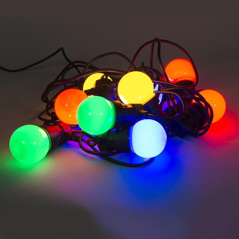 Gekleurde feestverlichting 10 LED's 4,5 meter