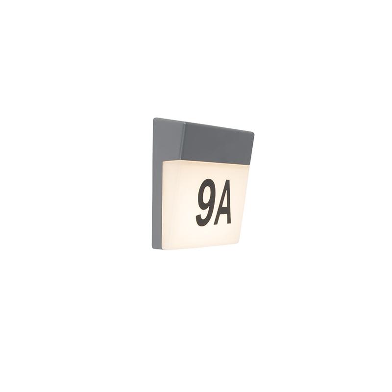 Moderne Buitenwandlamp Grijs Incl. Led En Huisnummer - Numbers