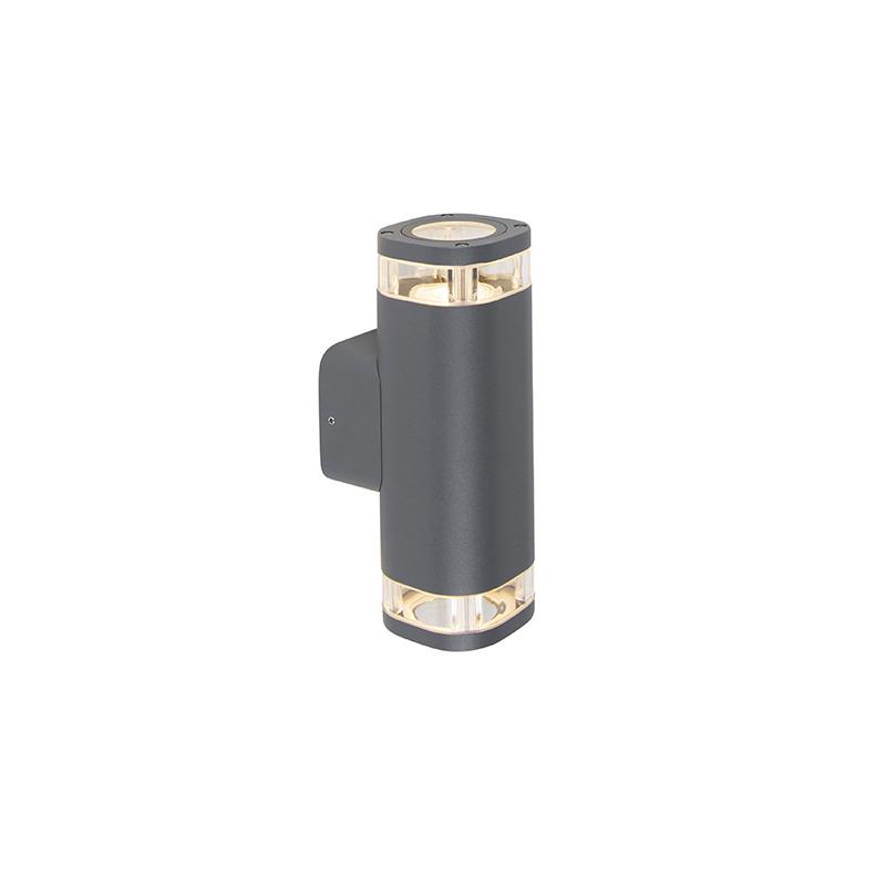 Buiten wandlamp donkergrijs IP54 2-lichts - Fox