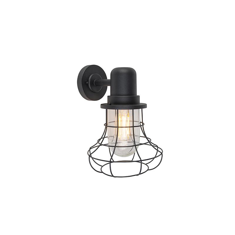 Landelijke buitenwandlamp zwart IP44 - Moreno