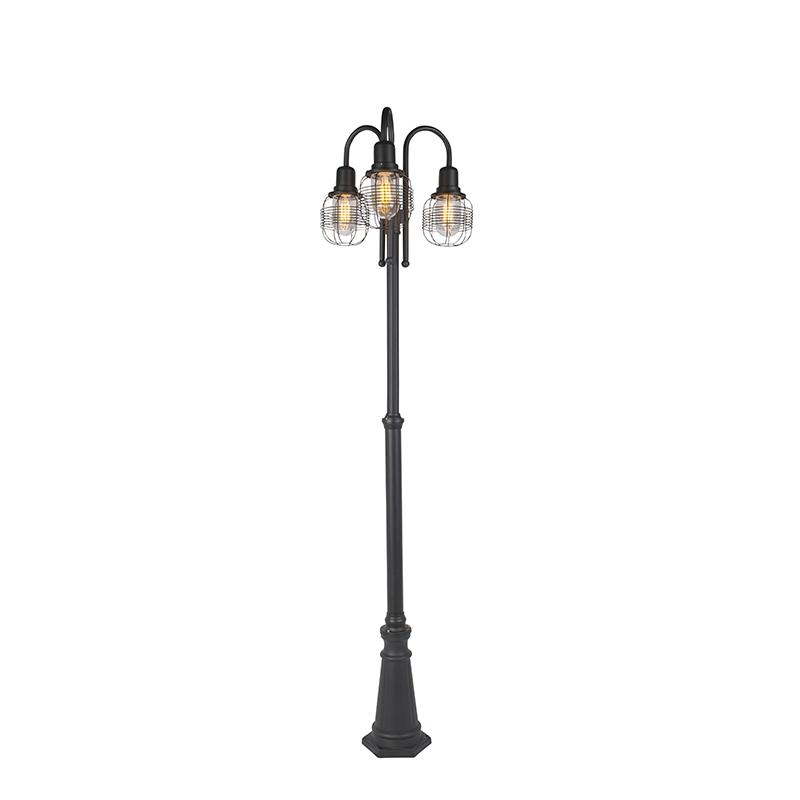 Landelijke buitenlamp zwart 3-lichts - Guardado