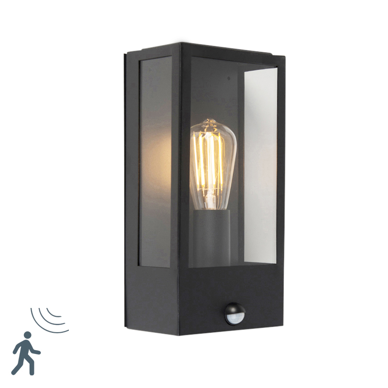 Moderne Buitenwandlamp Zwart Met Bewegingsmelder - Rotterdam 1