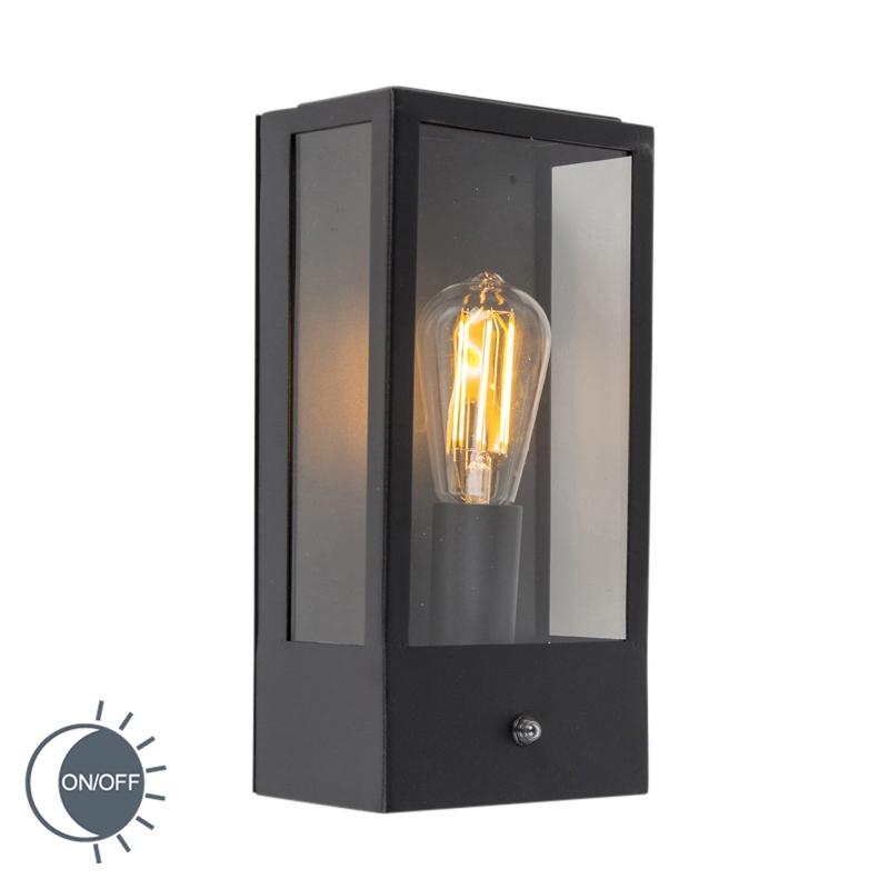 Moderne Buitenwandlamp Zwart Met Schemerschakelaar - Rotterdam 1