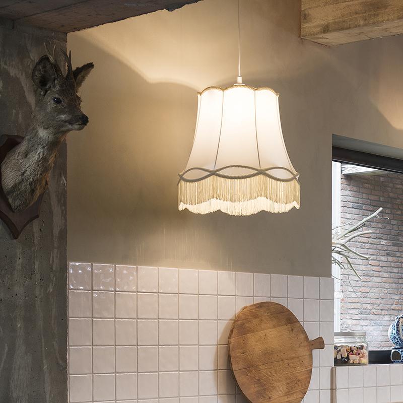 Retro lampa wisząca kremowa 45cm - Granny
