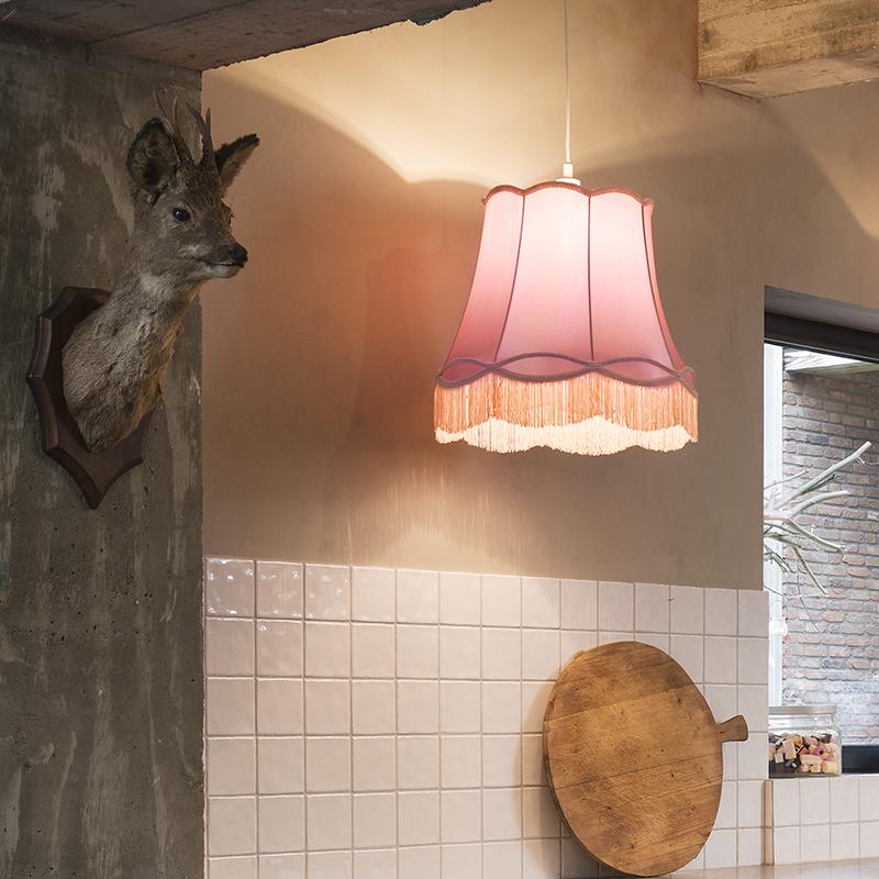 Retro hanglamp roze 45 cm Granny