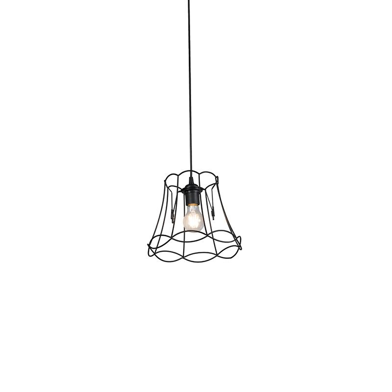 Lampa wisząca retro czarna 25cm - Granny Frame