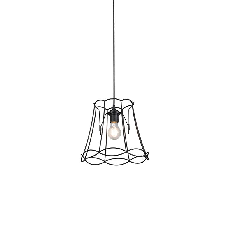 Lampa wisząca retro czarna 30cm - Granny Frame