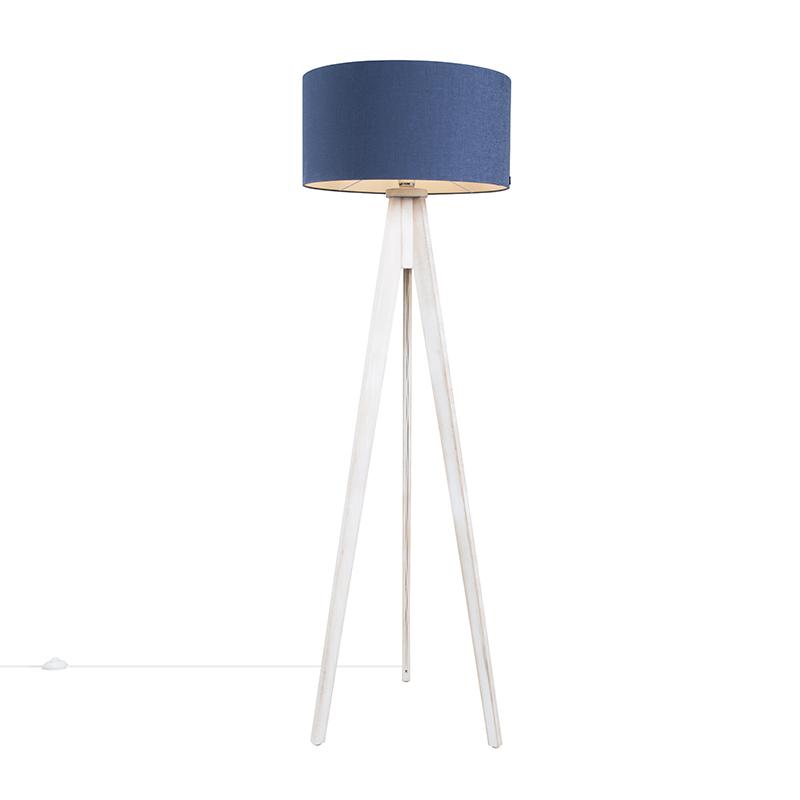 Vloerlamp Tripod Classic wit met kap 50cm antiek blauw