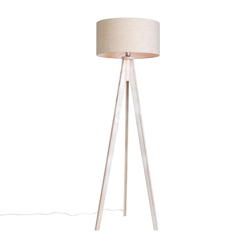 Vloerlamp Tripod Classic wit met kap 50cm peper