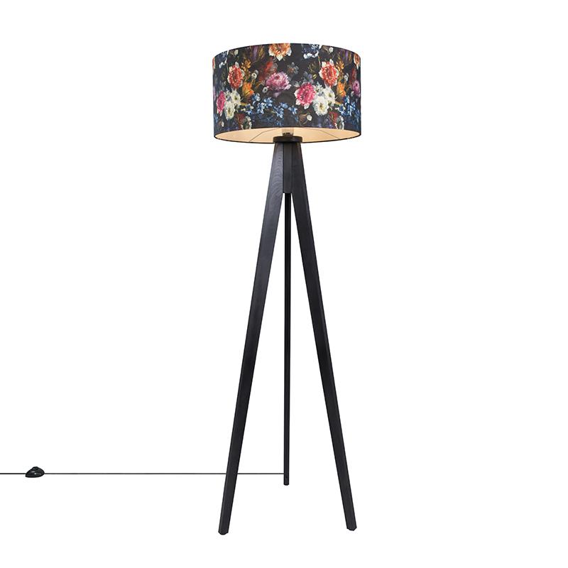 Vloerlamp Tripod Classic zwart met kap 50cm flora