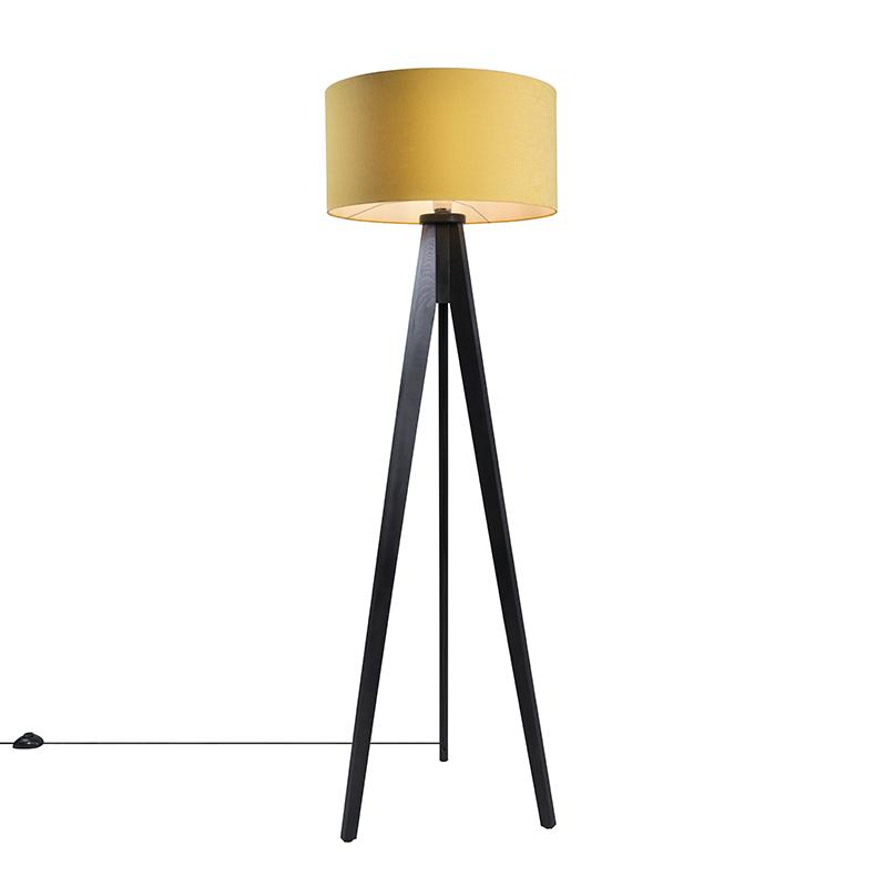 Vloerlamp Tripod Classic zwart met kap 50cm mais