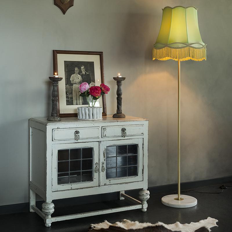 Retro vloerlamp messing met Granny kap groen 45 cm - Kaso