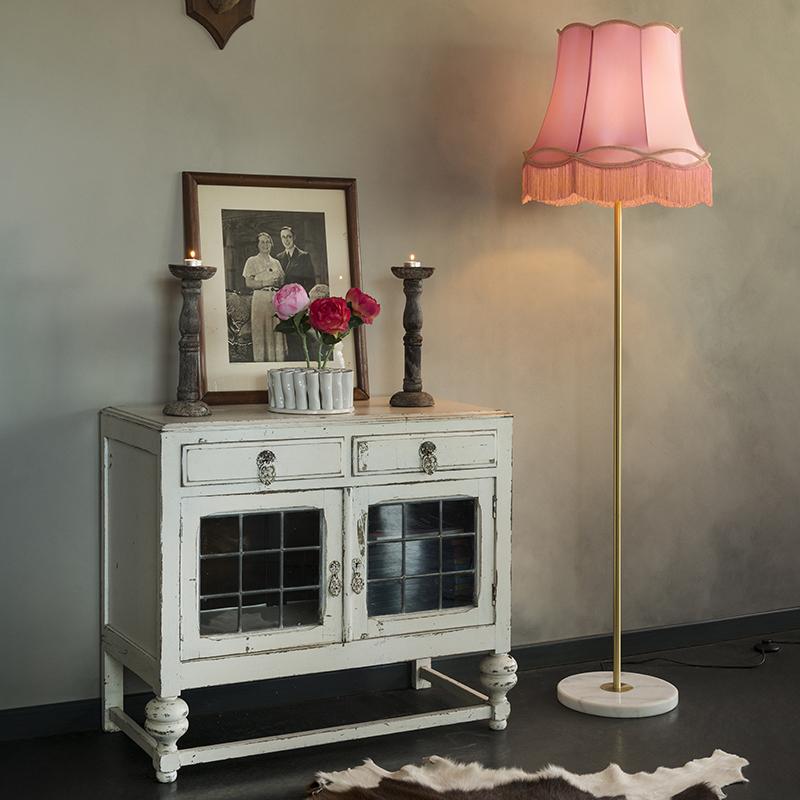 Retro vloerlamp messing met Granny kap roze 45 cm - Kaso