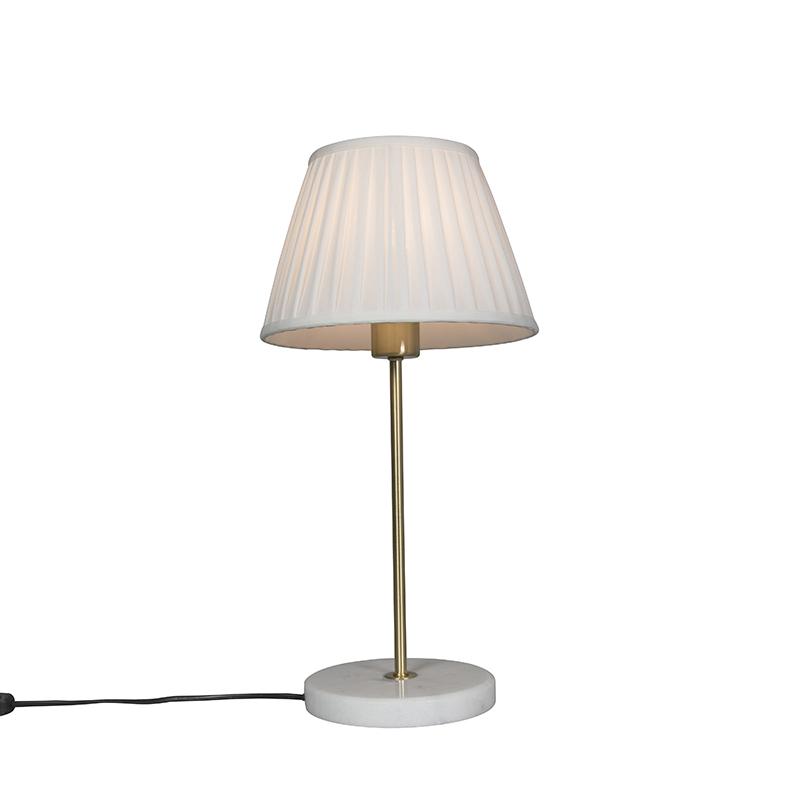 Tafellamp Kaso messing met kap Plisse 25cm wit