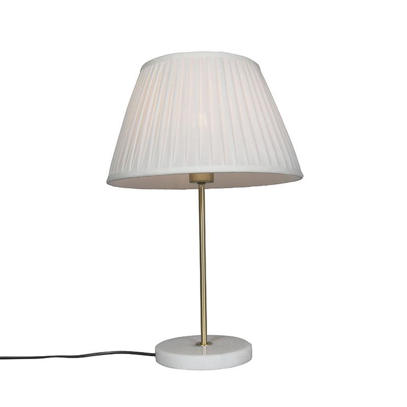 Tafellamp Kaso messing met kap Plisse 35cm wit