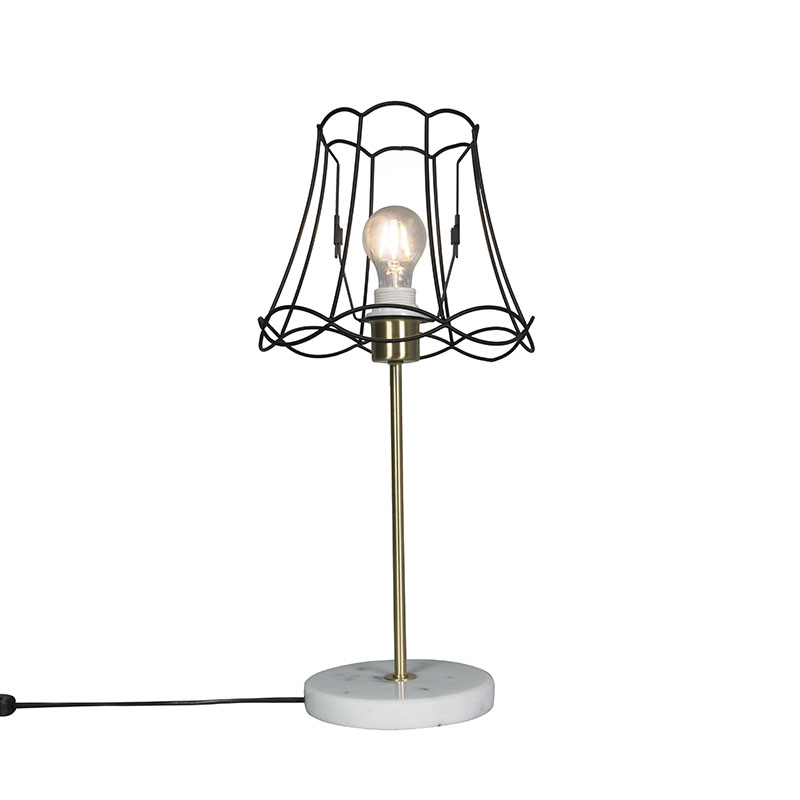 Retro tafellamp messing met Granny frame zwart 25 cm - Kaso