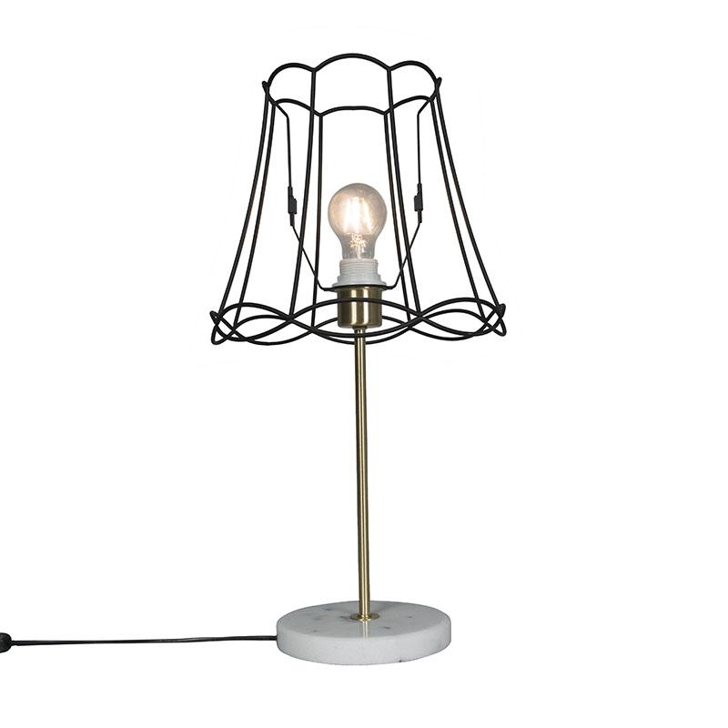 Retro tafellamp messing met Granny frame zwart 30 cm - Kaso