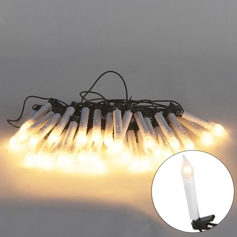 Kerstverlichting lichtsnoer kaars 30 mat wit LED 12 meter