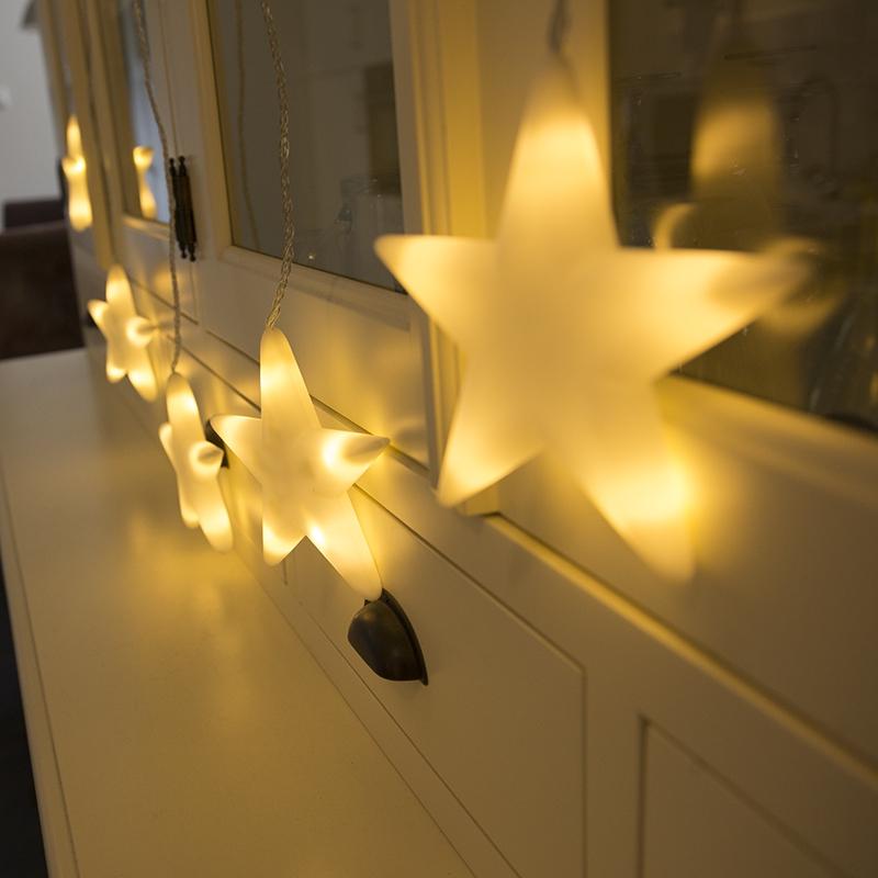 Kerstverlichting lichtsnoer ster 6 warm wit LED 1,5 meter