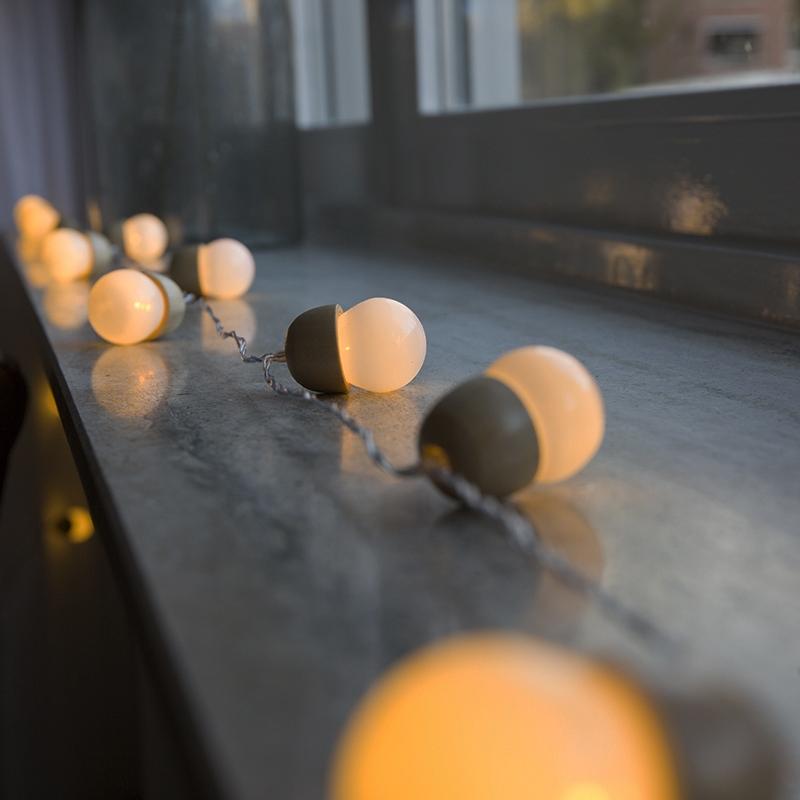 Kerstverlichting lichtsnoer eikel 20 warm wit LED 4 meter