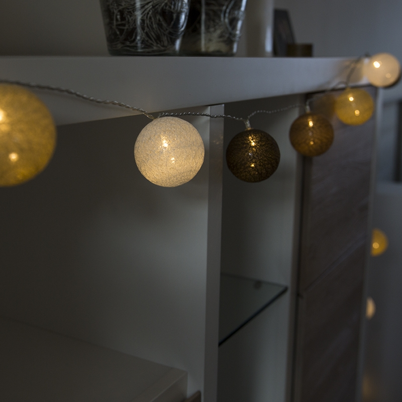Kerstverlichting Lichtsnoer Bal 24 Warm Wit Led 4 6 Meter