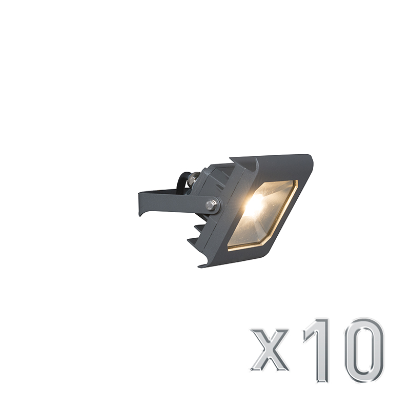 Led straler Radius 2 10W donkergrijs set van 10