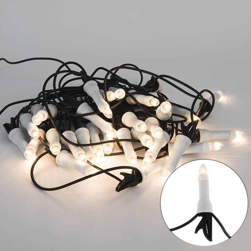 Kerstverlichting lichtsnoer kaars 30 helder 13,5 meter buiten