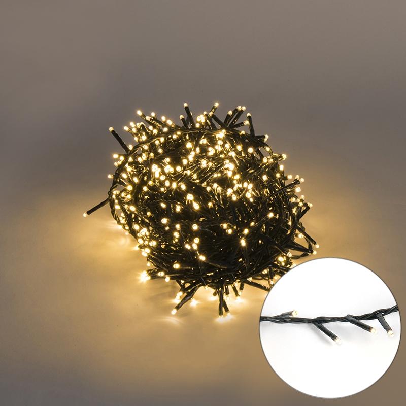 Feestverlichting buiten lichtsnoer knopjes 750 warm wit LED 16m
