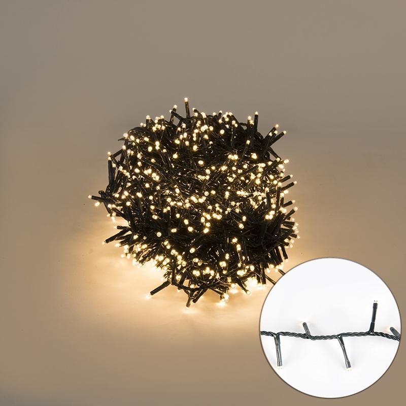 Feestverlichting buiten lichtsnoer knopjes 1000 warm wit LED 22,5m