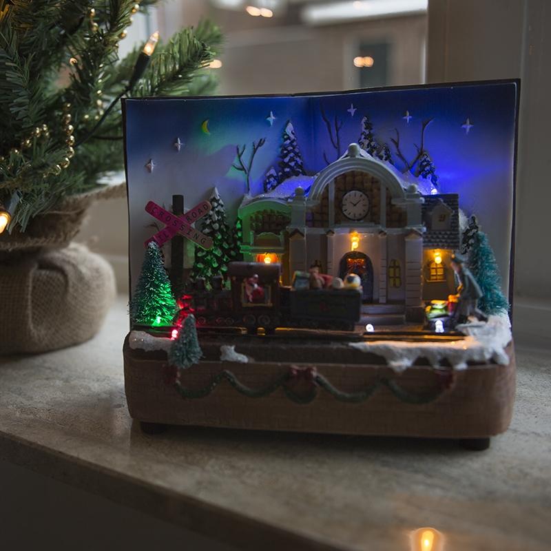 Kersthuisje Boek LED multikleur