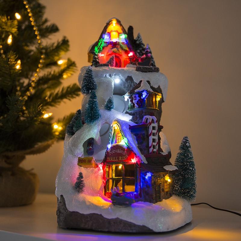 Kersthuisje Bobslee Led Multikleur