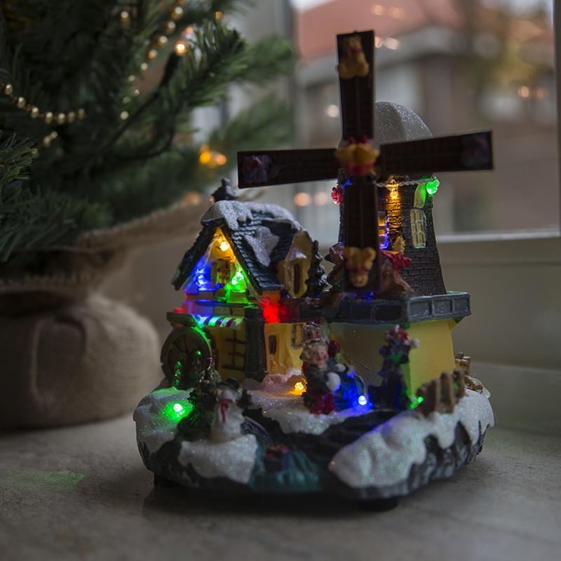 Kersthuisje Windmolen Led Multikleur