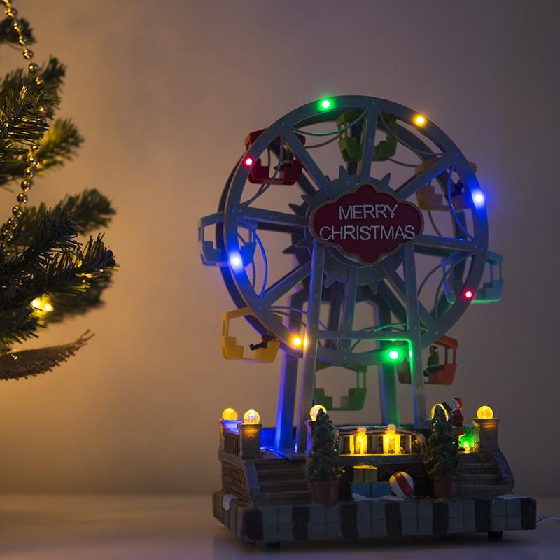 Kersthuisje Reuzenrad LED multikleur