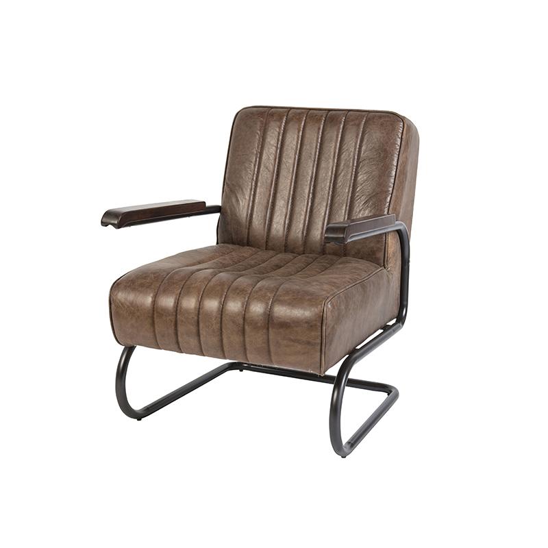 Vintage fauteuil in verweerd teak bruin leer - Cito
