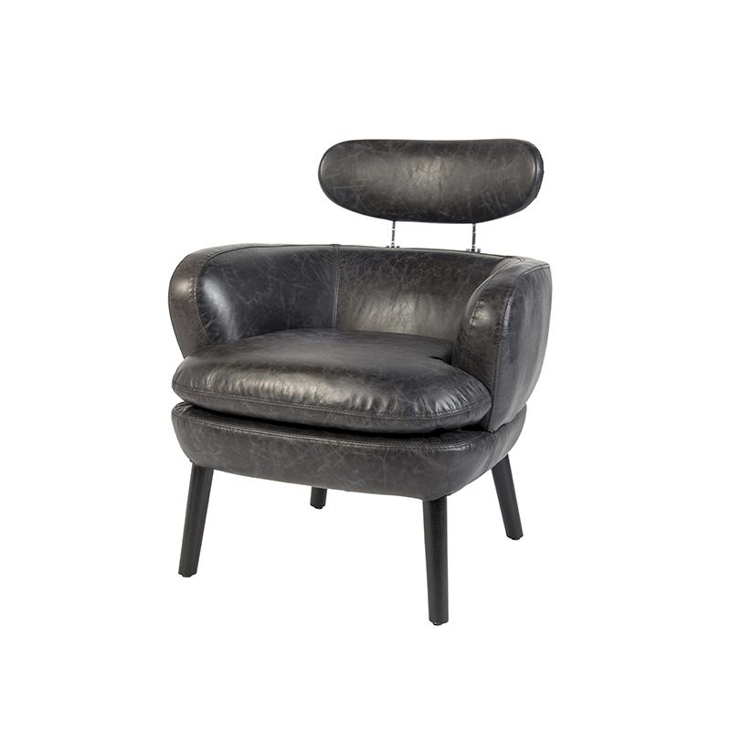 Vintage fauteuil in verweerd zwart leer - Salon