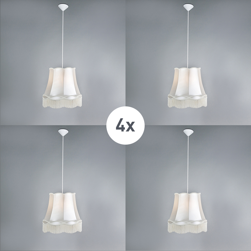 Zestaw 4 x lampa wisząca kremowa 45cm - Granny