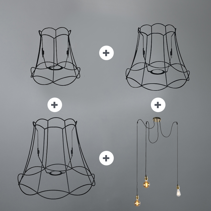 Lampa wisząca retro czarna - Granny Frame 3