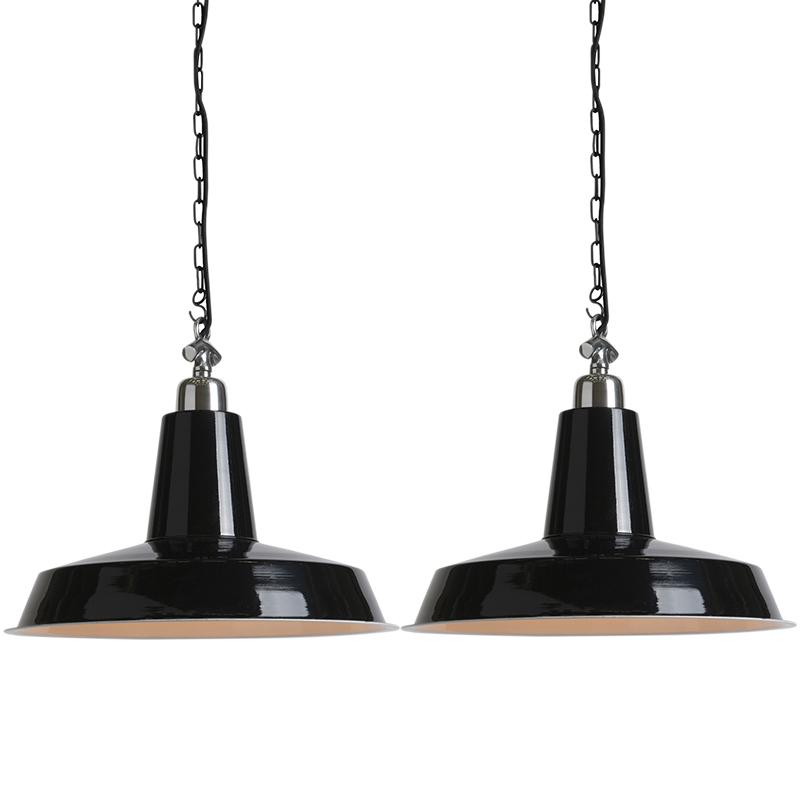 Zestaw 2 przemysłowych lamp wiszących w kolorze czarnym - Warrior
