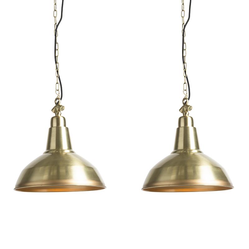 Zestaw 2 lamp wiszących w stylu art deco złoty / mosiądz - Goliath duży