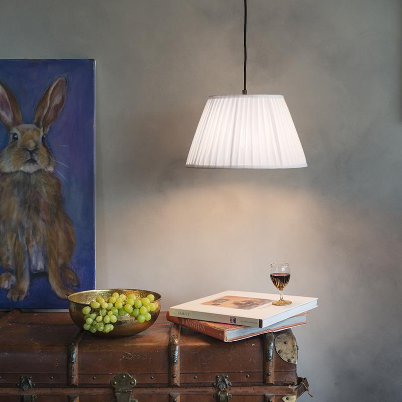 Retro hanglamp wit 45 cm - Plisse