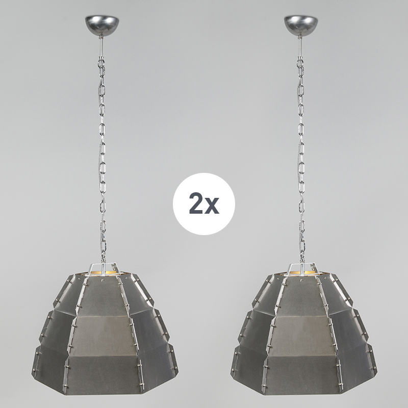 Set van 2 design hanglampen blank staal - Niro