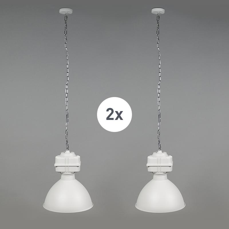 Set van 2 industri�le hanglampen klein mat wit - Sicko
