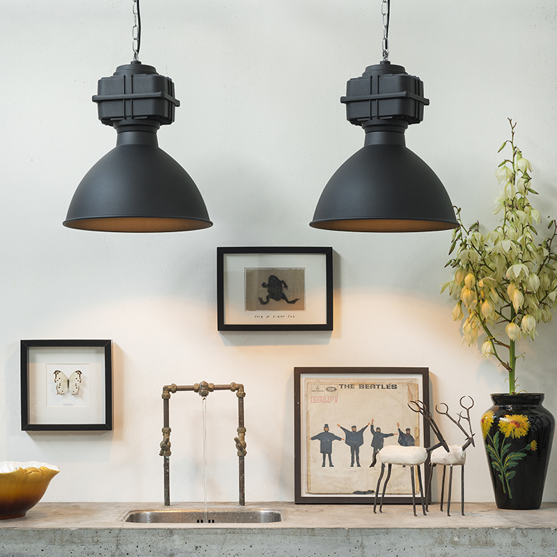 Set van 2 industriële hanglampen klein mat zwart - Sicko