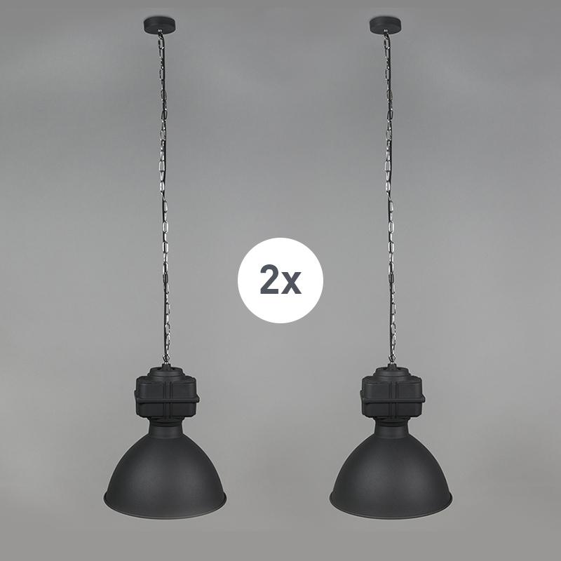 Zestaw 2 x przemysłowa lampa wisząca mała matowa czarna - Sicko