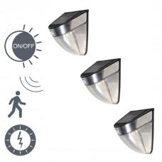 Set van 3 buitenlampen Solara LED zwart