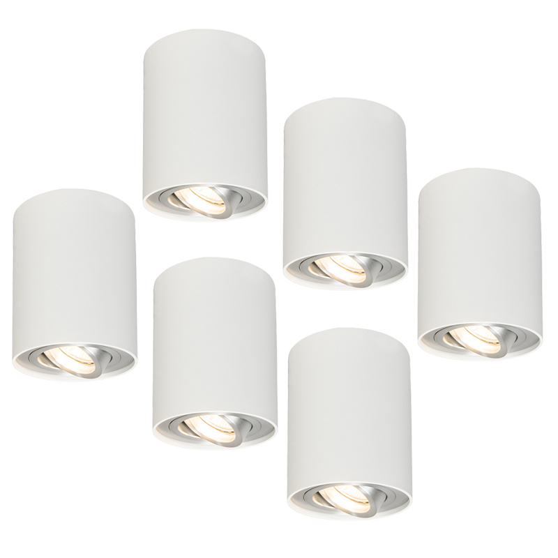 Set van 6 plafondspots Rondoo 1 up wit