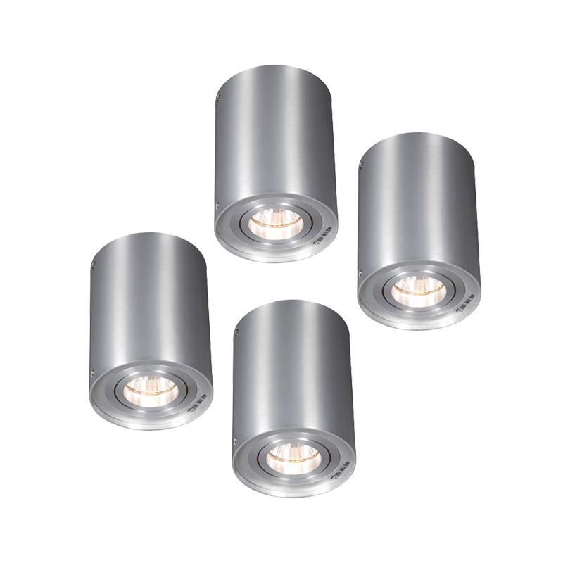 Set van 4 plafondspots Rondoo 1 up aluminium