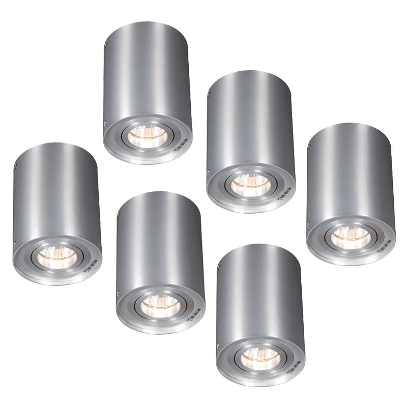 Set van 6 plafondspots Rondoo 1 up aluminium