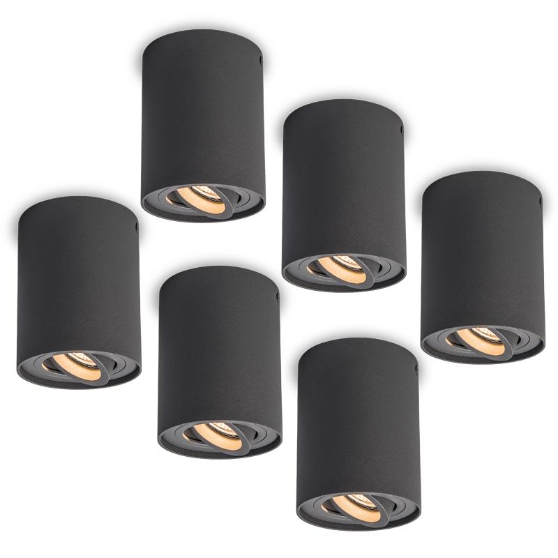 Set van 6 plafondspots Rondoo Up donkergrijs