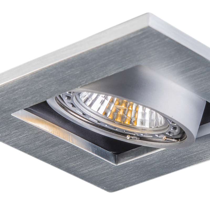 Set van 10 inbouwspots aluminium - Qure